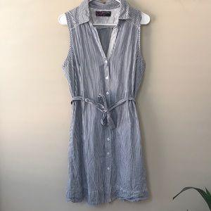 Peck & peck blue striped button up dress 8